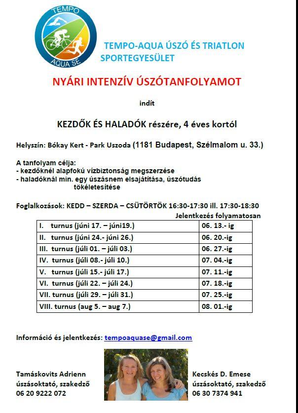 Tempo-Aqua Triatlon és Úszóegyesület nyári tanfolyamai